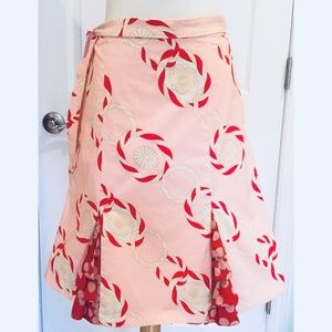 New Anthropologie Odille Size 8 M Skirt Pink Tie